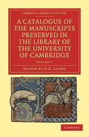 Book A Catalogue of the Manuscripts Preserved in the Library of the University of Cambridge