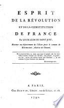 Esprit de la R  volution et de la Constitution de France