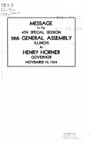 Message Of The Governor Of Illinois To The General Assembly