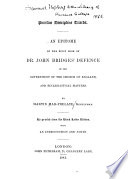 An Epitome of the First Book of Dr  John Bridges  Defence of the Government of the Church of England in Ecclesiastical Matters