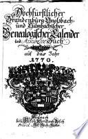 Hochf  rstlicher Brandenburg Onolzbach  und Culmbachischer genealogischer Calender und Adresse Buch