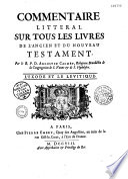 Commentaire litt  ral sur tous les livres de l Ancien et du Nouveau Testament