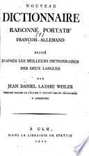 Nouveau Dictionnaire raisonn   portatif Fran  ois Allemand et Allemand Fran  ois