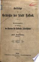 Beiträge zur Geschichte der Stadt Rostock