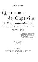 Book Quatre ans de captivité à Cochons-sur-Marne, 1900-1904