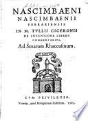 Nascimbaeni Nascimbaenii Ferrariensis in M  Tullii Ciceronis de inventione libros commentarius
