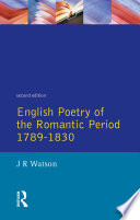English Poetry of the Romantic Period 1789 1830