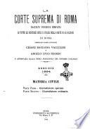 La Corte suprema di Roma raccolta periodica delle sentenze della Corte di cassazione di Roma