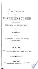 Chroniken und urkundenbücher hervorragender geschlechter