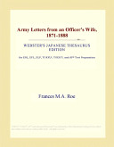 Army Letters from an Officer s Wife  1871 1888  Webster s Japanese Thesaurus Edition