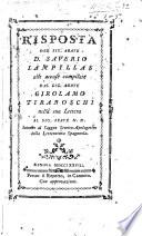 Risposta del Sig. ... S. L. alle accuse compilate dal Sig. ... G. Tiraboschi nella sua lettera ... intorno al saggio storico-apologetico della Letteratura Spagnuola