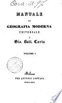 Manuale di geografia moderna universale di Gio  Batt  Carta