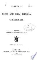 Elements Of Hind And Braj Bh Kh Grammar