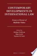 Contemporary Developments In International Law