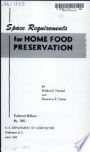 Space Requirements for Home Food Preservation
