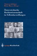Österreichische Rechtswissenschaft in Selbstdarstellungen