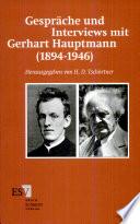Gespräche und Interviews mit Gerhart Hauptmann (1894-1946)