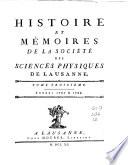 Histoire et M  moires de la Soci  t   des sciences physiques de Lausanne