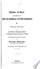 Nikolaus af Basel i förhållande till kyrkan och mystikerna i det 14:de århundradet