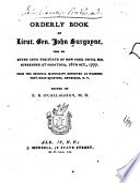 Orderly Book of Lieut. Gen. John Burgoyne
