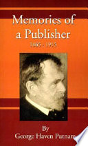 Memories of a Publisher 1865   1915