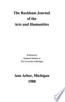 The Rackham Journal of the Arts and Humanities