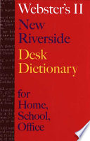 Webster s II New Riverside Desk Dictionary