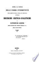 Sopra la genesi delle febbri intermittenti specialmente di Roma e della sua provincia australe