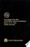 Proceedings of the 49th Industrial Waste Conference Purdue University, May 1994