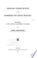 Kritische untersuchungen zu den Posthomerica des Quintus Smyrnaeus ...