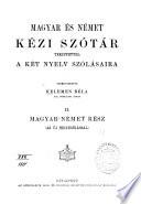 Magyar   s n  met k  zi sz  t  r tekintettel a k  t nyelv sz  l  saira