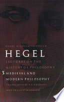 Lectures on the History of Philosophy: Medieval and Modern Philosophy