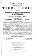 Jahresbericht   ber die Fortschritte der Tier Chemie  oder der Physiologischen  Pathologischen und Immuno Chemie und der Pharmakologie