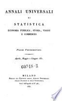 Annali universali di viaggi  geografia  storia  economia pubblica e statistica