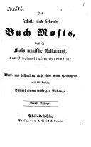 Das sechste und siebente Buch Mosis, das ist: Mosis magische Geisterkunst, das Geheimniss aller Geheimnisse