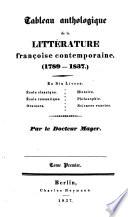 Versuch einer geschichte und charakteristik der franz  sischen national litteratur      Tableau anthologique de la litt  rature fran  aise