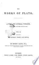 The Works of Plato a New and Literal Version  Chiefly from the Text of Stallbaum
