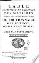 Table analytique et raisonn  e des matieres contenues dans les 33  volumes in folio du Dictionnaire des sciences  des arts et des m  tiers  et dans son Supplement  Tome premier   second