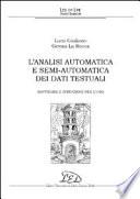 L analisi automatica e semi automatica dei dati testuali  Software e istruzioni per l uso