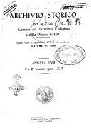 Archivio storico per la citt   e i comuni del territorio lodigiano e della diocesi di Lodi