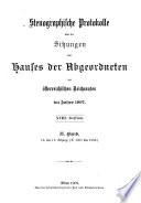 Stenographische Protokolle des Abgeordnetenhauses des Reichsrathes