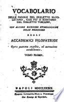 Vocabolario delle parole del dialetto napoletano  che pi   si scostano dal dialetto toscano