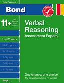 Bond Verbal Reasoning Assessment Papers 11  12  Years