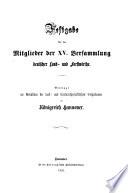 Festgabe f  r die Mitglieder der XV  Versammlung Deutsche Land  und Forstwirthe