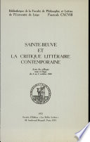 Sainte-beuve Et la Critique Litteraire Contemporaine