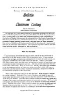 Bulletin On Classroom Testing