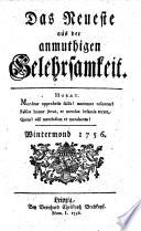 Das Neueste aus der anmuthigen Gelehrsamkeit  Hrsg  von Joh  Christ  Gottsched