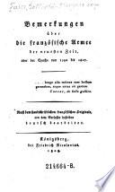 Bemerkungen über die französische Armée der neuesten Zeit, oder der Epoche von 1792 bis 1807