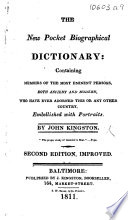 The New Pocket Biographical Dictionary     Second Edition  Improved