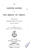 The Scripture Doctrine Of The Person Of Christ
